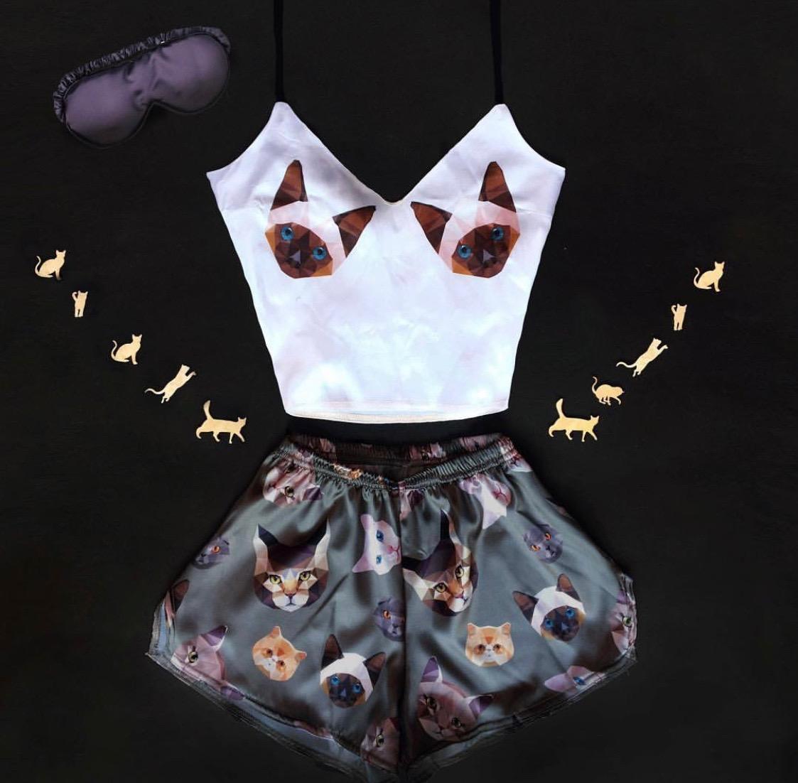 Шелковая пижама Котик