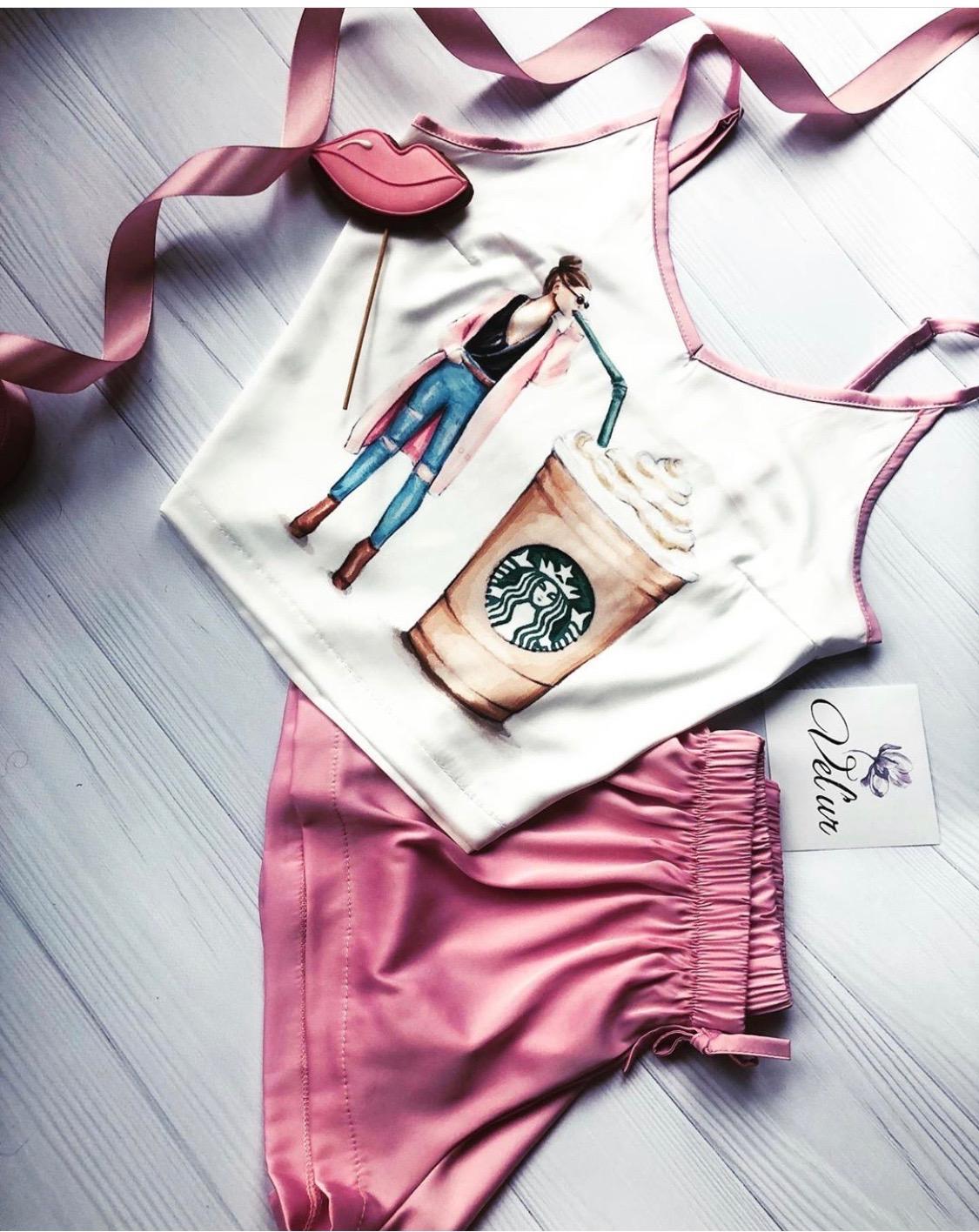 Шелковая пижама ручной работы Кофе
