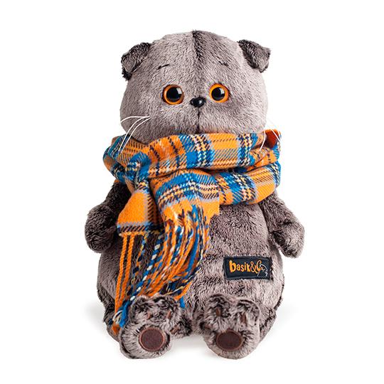 Мягкая игрушка кот Басик и шарф в клеточку, 30 см