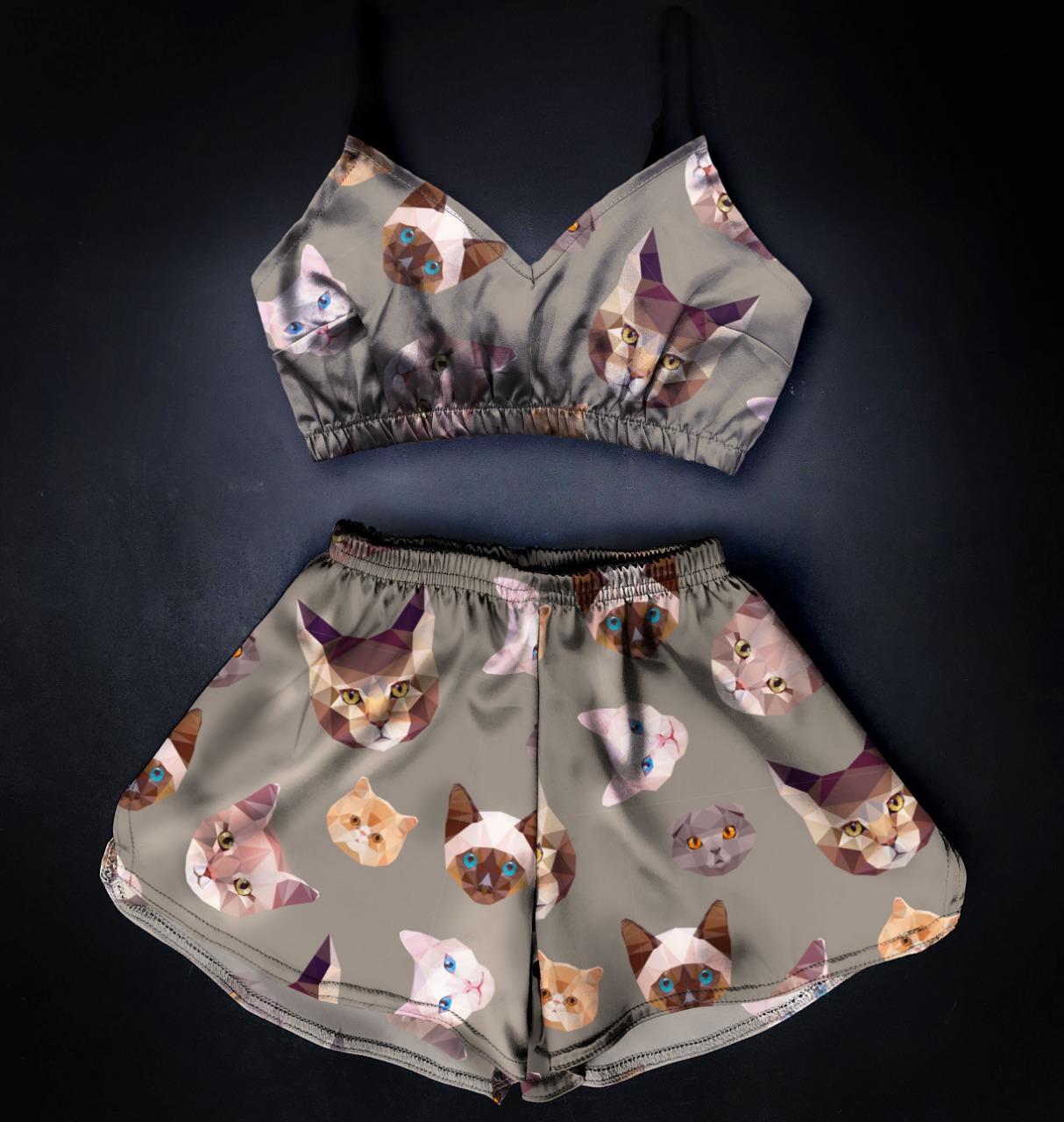 Шелковая Пижама Котик темный топ