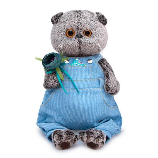 Мягкая игрушка кот Басик в голубом комбинезоне, 30 см