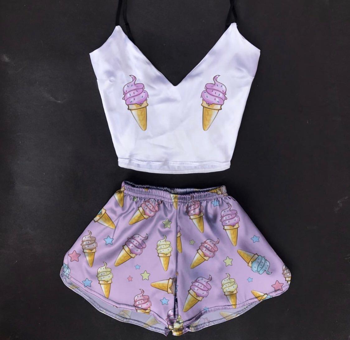 Шелковая пижама Ванильное мороженое