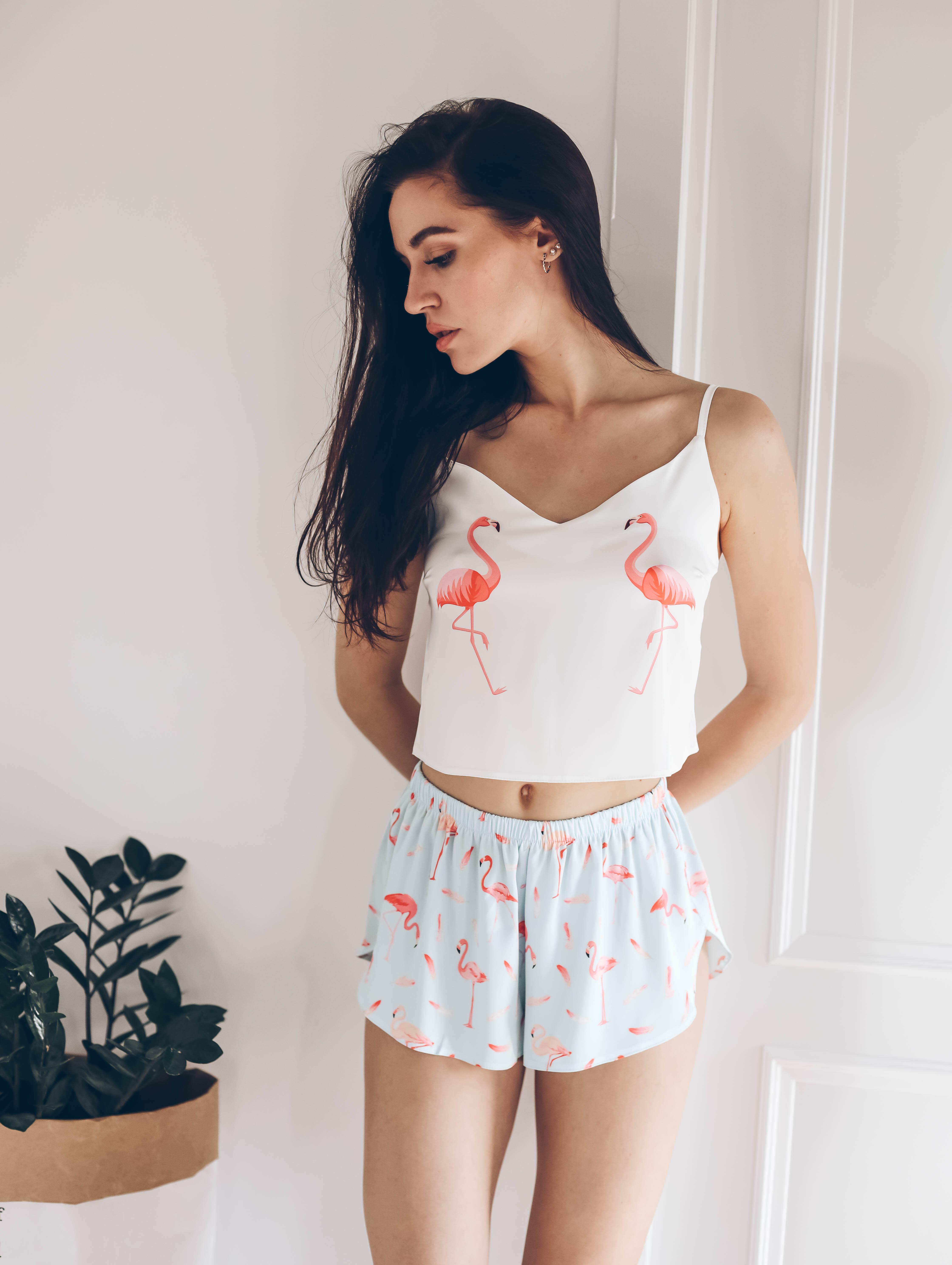 Шелковая пижама Фламинго