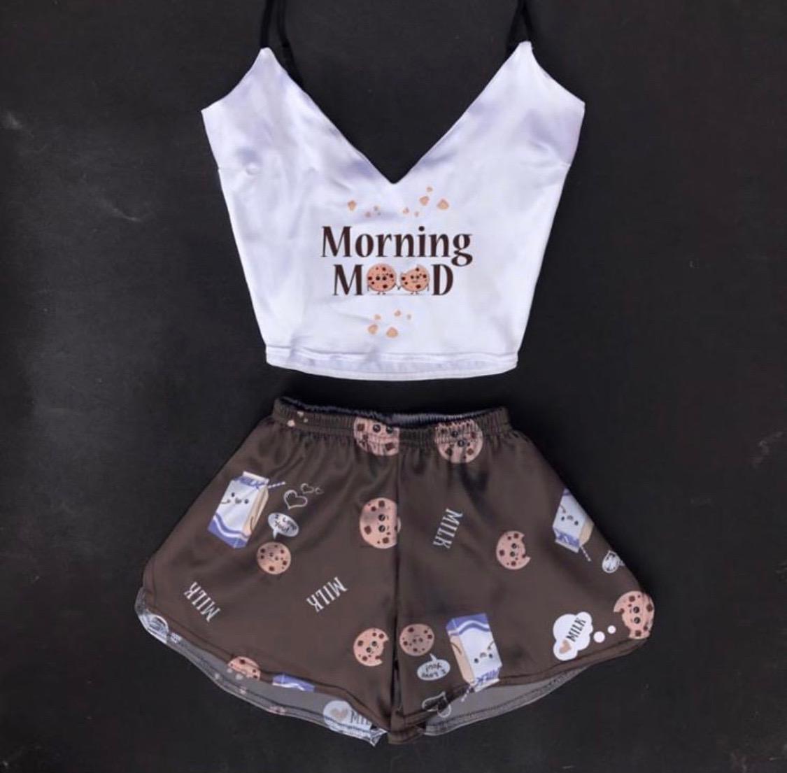 Шелковая пижама Печенье с молоком