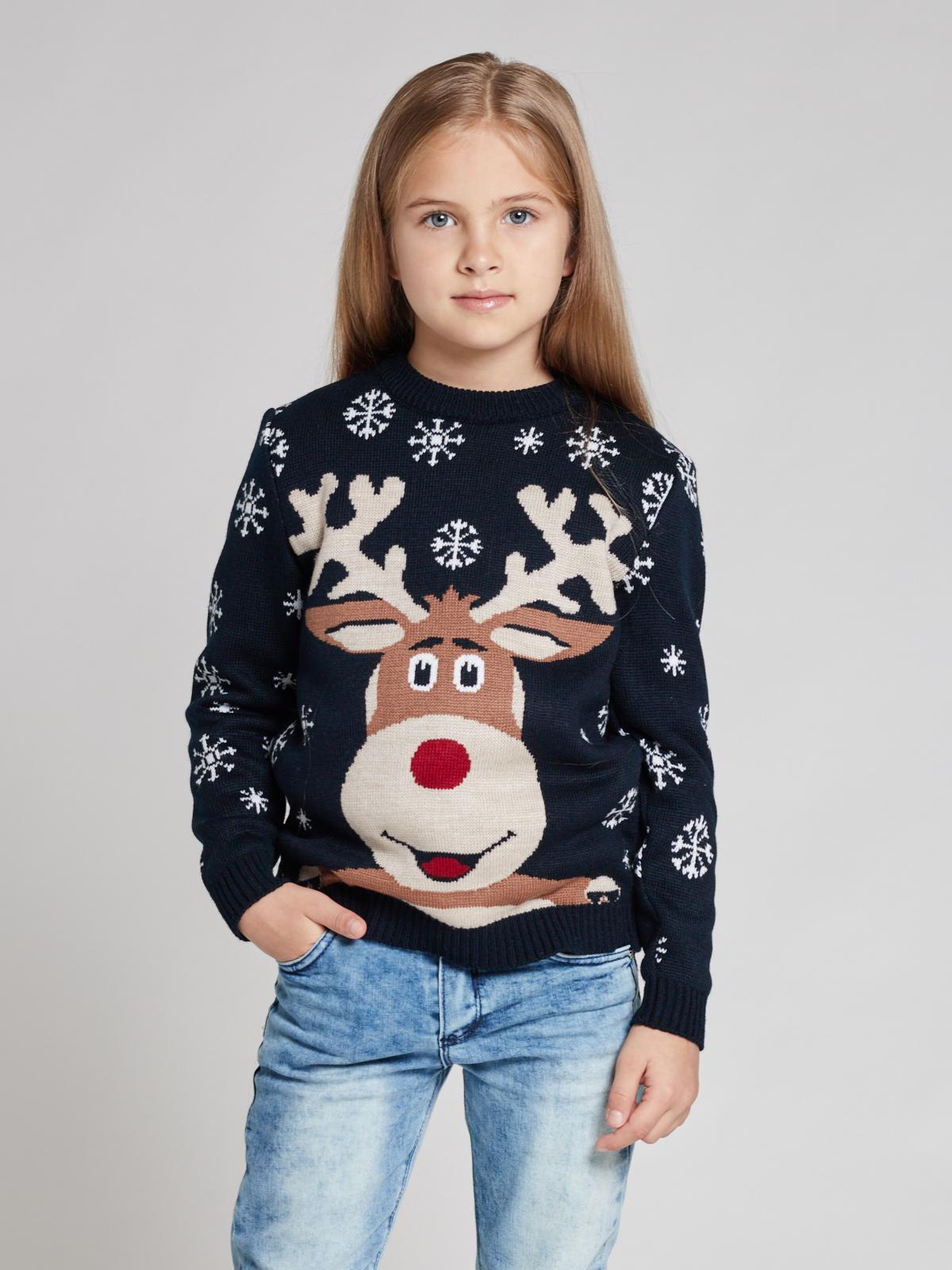 Свитер с оленем SC10G (детский) для девочек