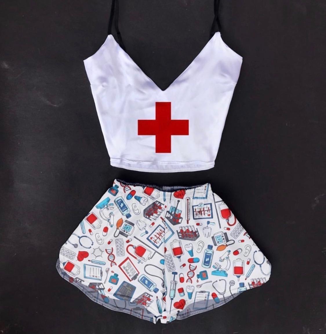 Шелковая пижама Медсестричка