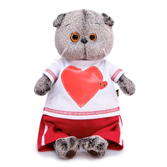 Мягкая игрушка кот Басик в футболке с сердцем, 30 см