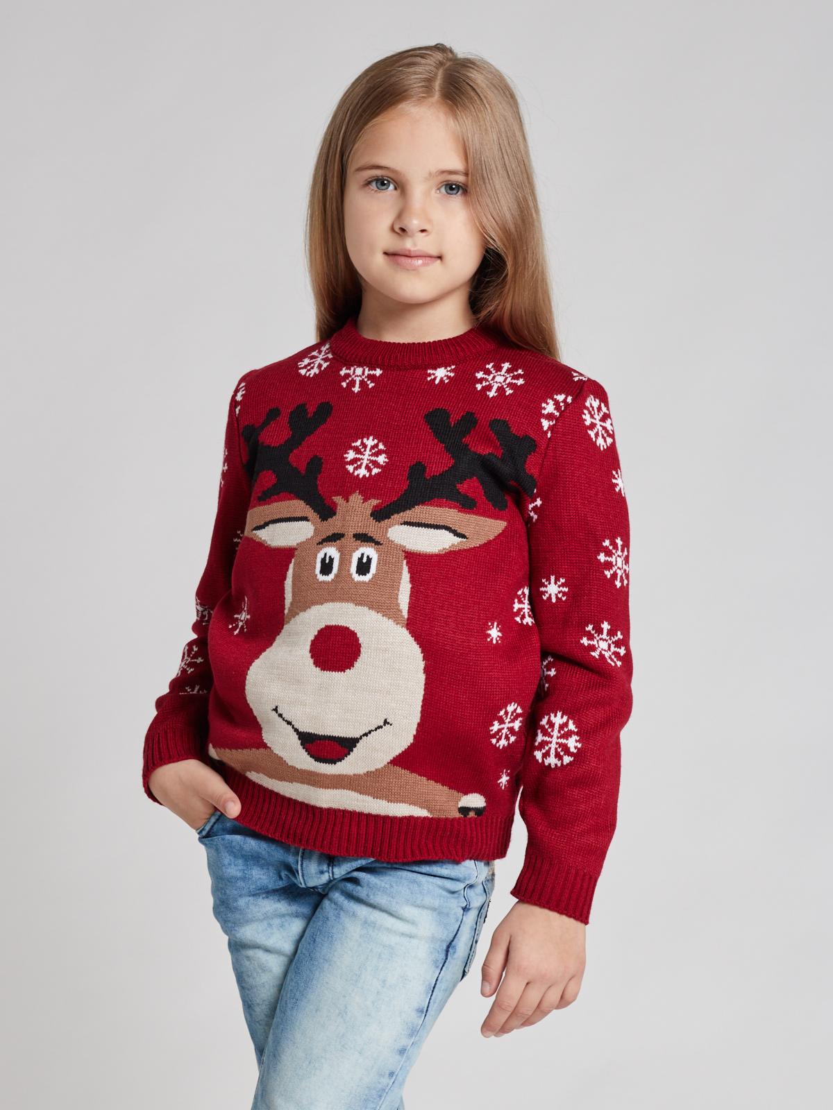 Свитер с оленями SC4G (детский) для девочки