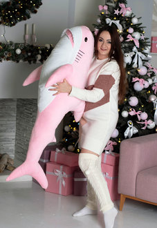 Мягкая игрушка Акула 140 см Блохэй Розовая