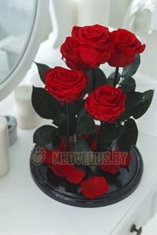 Композиция из роз в колбе 37 см, Five Lives Red Romantic