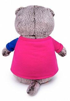 Мягкая игрушка кот Басик в пиджаке в двухцветной футболке, 30 см