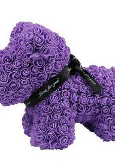 Собачка из роз 35 см фиолетовая Premium