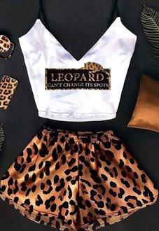 Шелковая пижама Леопард