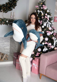 Мягкая игрушка Акула 140 см Блохэй Синяя