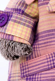 Мягкая игрушка кот Басик в пиджаке в сиреневую клетку, 30 см