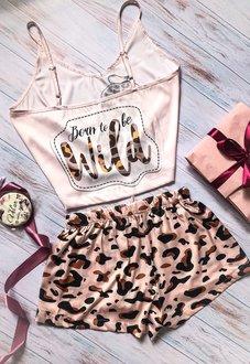 Шелковая пижама ручной работы Мопсик в Леопарде